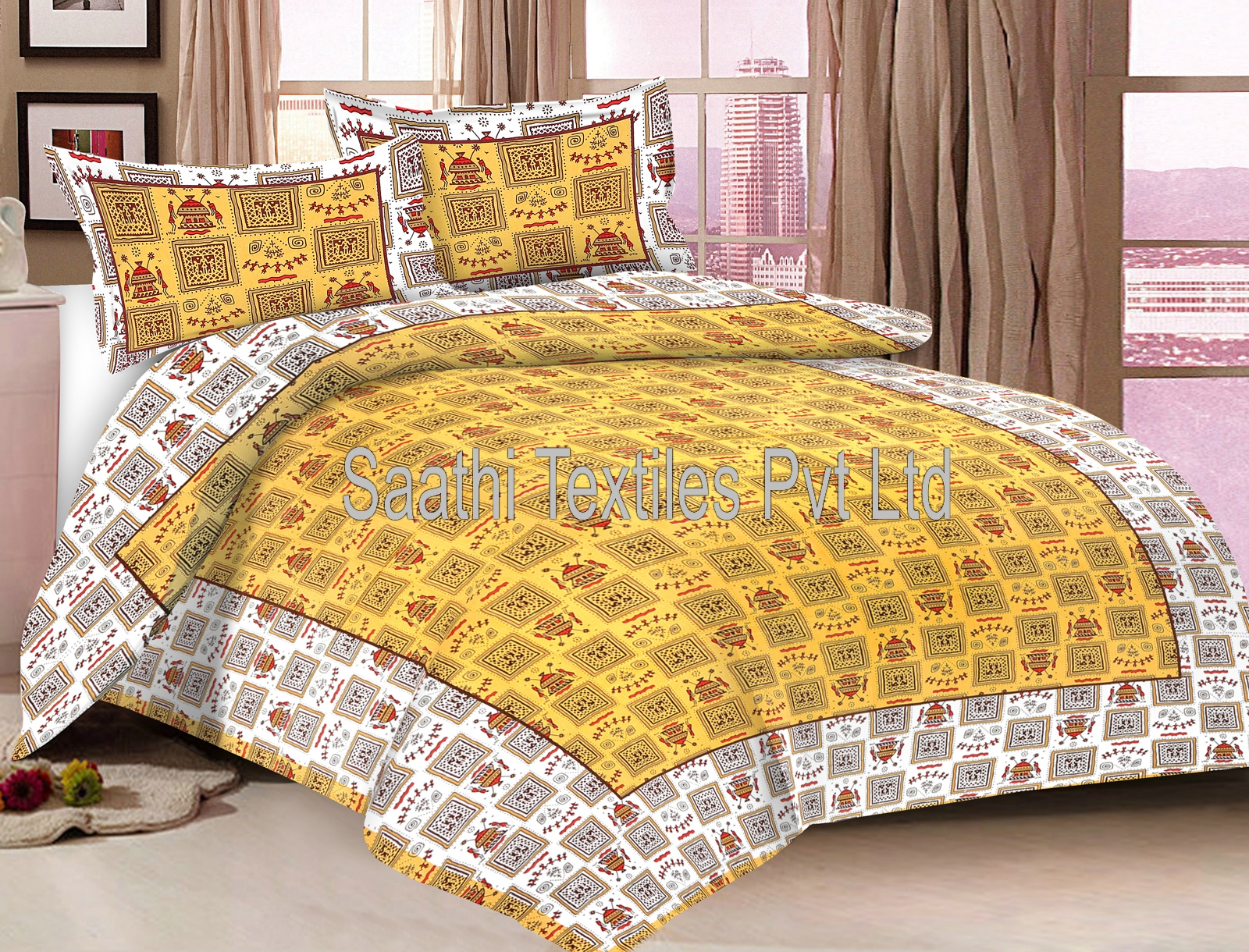 Elegant Design Cotton Printed Double Bed Sheets With Pillow Covers U2013 Saathi