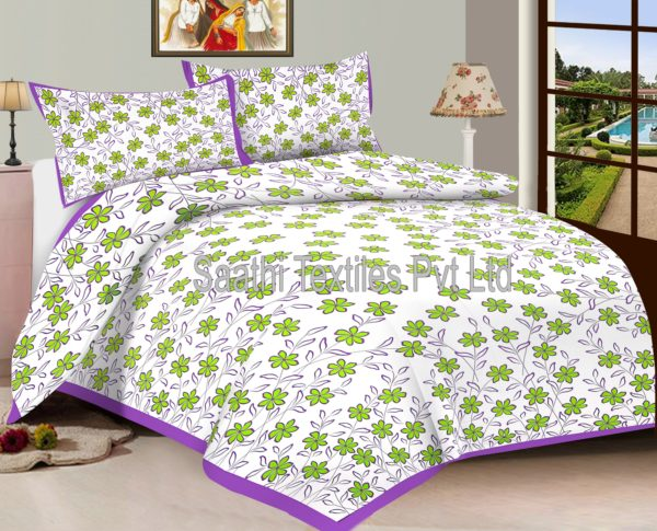 Green Flower Printed Bed Sheets. DB121C2. DB121C3. DB121C1