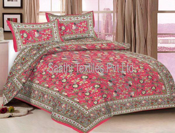 Jaipuri Printed Cotton Bed Sheets With Pillow Covers. DB128D2. DB128D1.  DB128D3