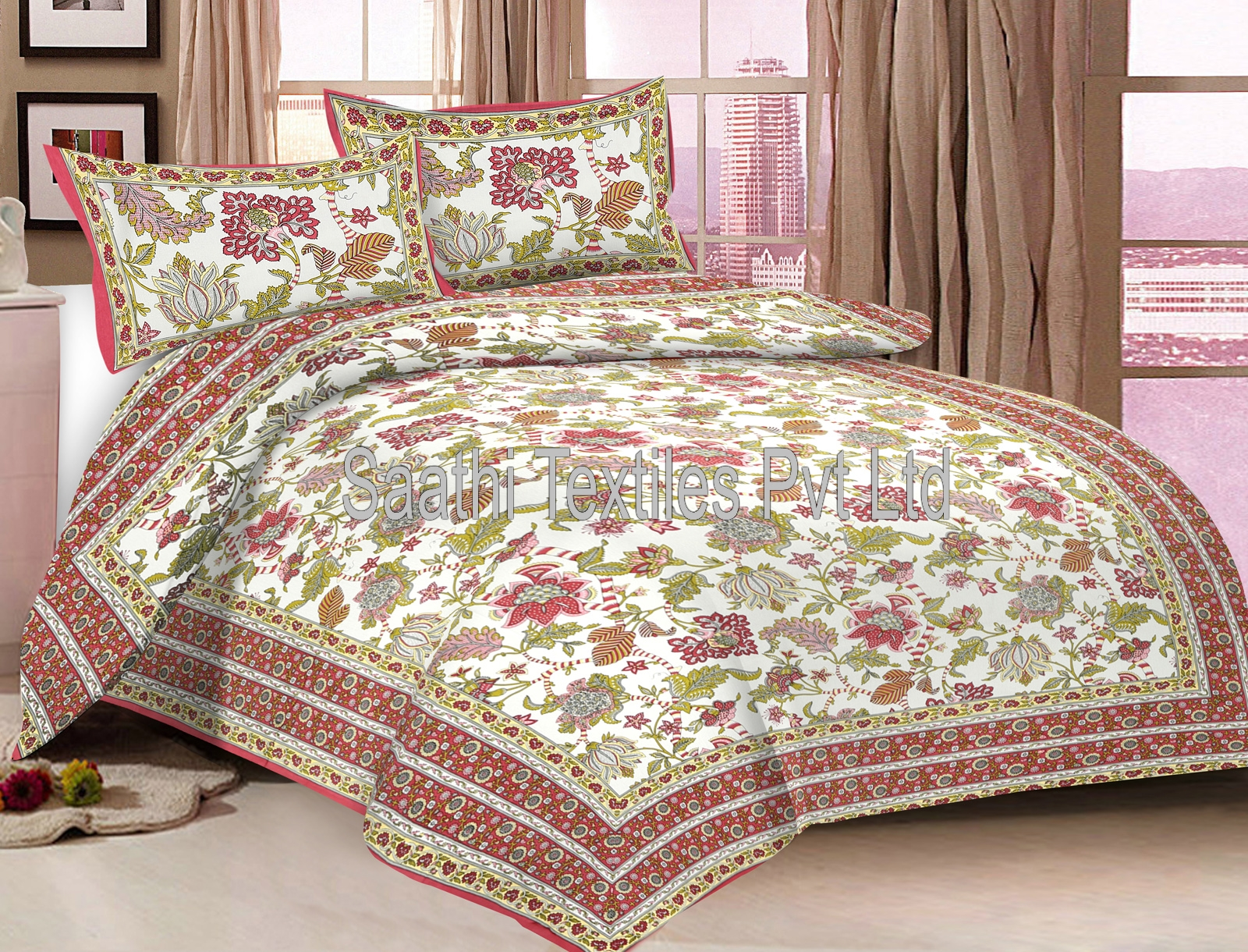 Printed Cotton Bed Sheets, Queen Size With Pillow Covers