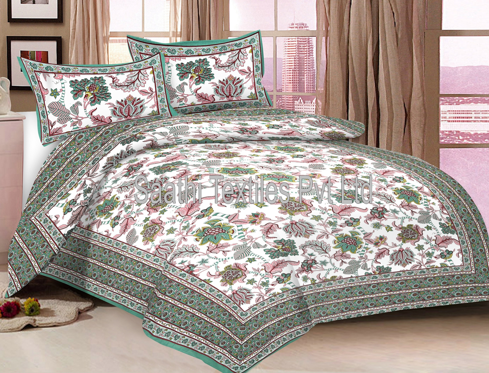 Rajasthani Printed Double Bed Sheets With Pillow Covers