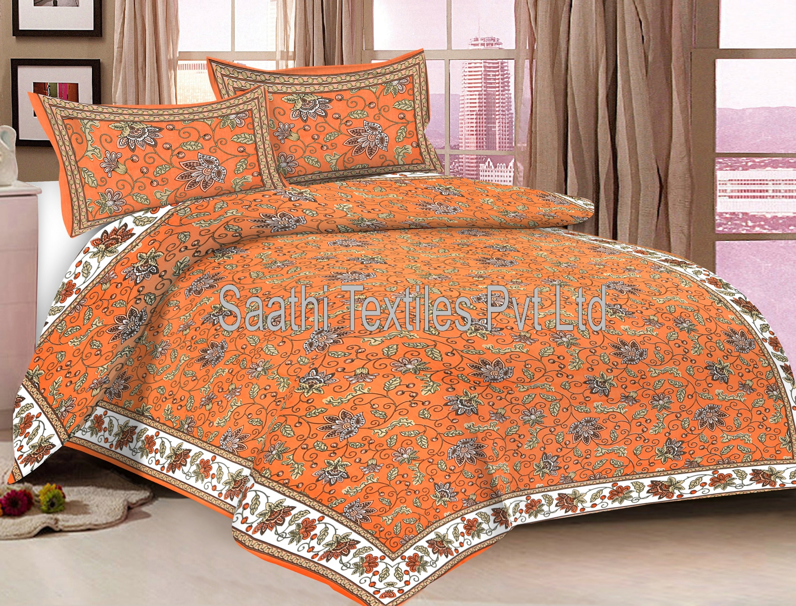 Latest Designer Double Bed Sheets With Pillow Covers