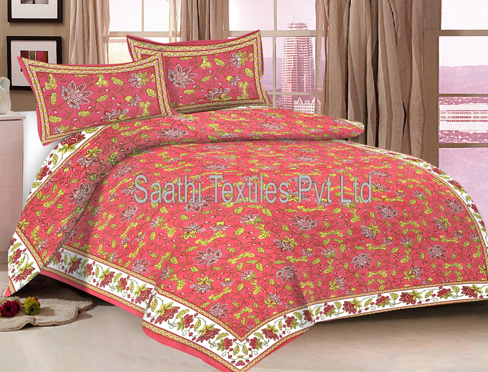 Attrayant Double Bed Sheets, 100% Cotton Printed