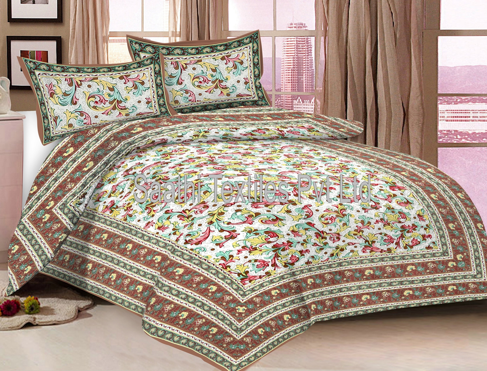 Ordinaire Designer Bed Sheets Pure Cotton Printed