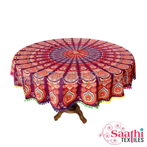 225 & Indian Traditional Looking Round Table Covers Pure Cotton printed
