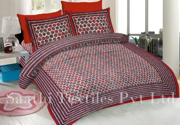Ordinaire Printed Cotton Double Bed Sheets